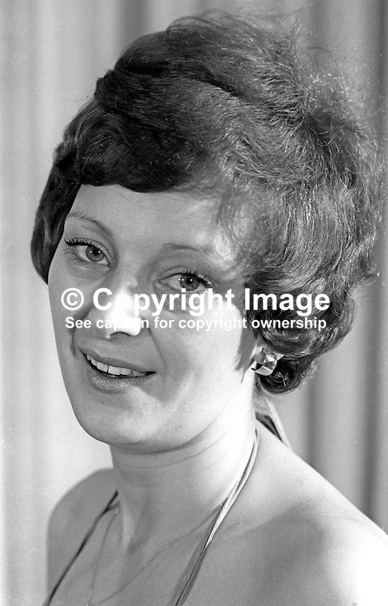 Maureen Tosh, hotel manageress, Portrush, Co Antrim, N Ireland, Miss PTQ, 1976, Rag Week, Queen's University, Belfast. 197602260117<br /> <br /> Copyright Image from Victor Patterson, 54 Dorchester Park, Belfast, UK, BT9 6RJ<br /> <br /> Tel: +44 28 9066 1296<br /> Mob: +44 7802 353836<br /> Voicemail +44 20 8816 7153<br /> Email: victorpatterson@me.com<br /> Email: victorpatterson@gmail.com<br /> <br /> IMPORTANT: My Terms and Conditions of Business are at www.victorpatterson.com