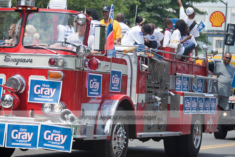Supporters of Vince Gray for Mayor head up the parade at the 2010 DC Caribbean Carnival in Washington, DC.