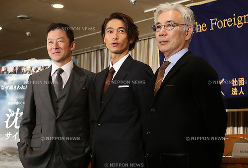 "January 12, 2017, Tokyo, Japan - Japanese casts of the U.S. movie ""Silence"" (L-R) Tadanobu Asano, Yosuke Kubozuka and Issey Ogata pose for photo after they spoke before foreign journalists in Tokyo on Thursday, January 12, 2017. The movie ""Silence"", written by Japanese author Shusaku Endo and directed by Martin Scorsese of the United States, will be screening in Japan from January 21.   (Photo by Yoshio Tsunoda/AFLO) LWX -ytd-"