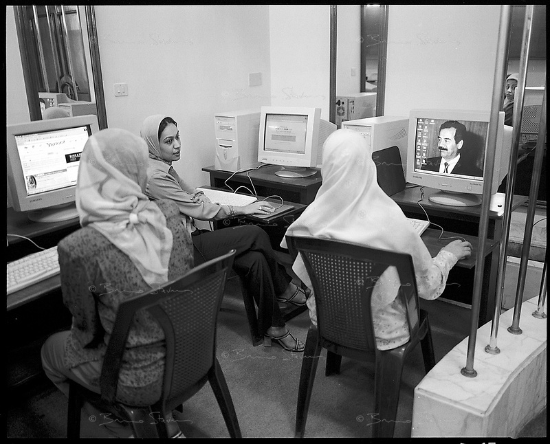 "Baghdad, Iraq  October 16, 2002.All public internet cafes are state owned, e-mail is strictly controlled, many websites ""restricted""..."