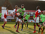 David Edgar of Sheffield Utd tussles with Victor Nirennold of Fleetwood Town  - English League One - Fleetwood Town vs Sheffield Utd - Highbury Stadium - Fleetwood - England - 5rd March 2016 - Picture Simon Bellis/Sportimage
