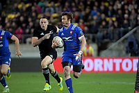 NZ's Ben Smith chases France's Maxime Medard during the Steinlager Series international rugby match between the New Zealand All Blacks and France at Westpac Stadium in Wellington, New Zealand on Saturday, 16 June 2018. Photo: Dave Lintott / lintottphoto.co.nz