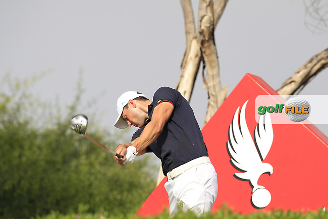 Martin Kaymer (GER) tees off the 11th tee during Sunday's Final Round of the Abu Dhabi HSBC Golf Championship 2015 held at the Abu Dhabi Golf Course, United Arab Emirates. 18th January 2015.<br /> Picture: Eoin Clarke www.golffile.ie