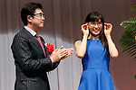 Japanese actress Tao Tsuchiya (R) poses for the cameras during the 30th Japan Best Dressed Eyes Awards at Tokyo Big Sight on October 11, 2017, Tokyo, Japan. The event featured Japanese celebrities who were recognized for their fashionable eyewear. (Photo by Rodrigo Reyes Marin/AFLO)