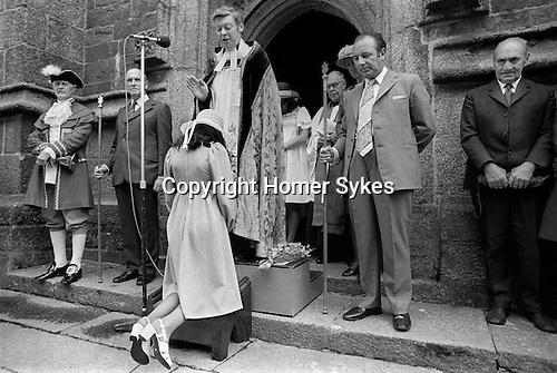 The Pretty Maid of Holsworthy, Devon, England 1975.  Held on the date of the St Peters day  Charter Fair Josephine Isaac is Pretty Maid.<br /> My ref 32/1023/1975,