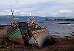 Abandoned fishing boats near Salen, Scotland are frequently photographed.