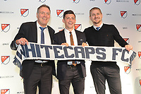 Philadelphia, PA - Thursday January 19, 2018: Bob Lenarduzzi, Lucas Stauffer, Carl Robinson during the 2018 MLS SuperDraft at the Pennsylvania Convention Center.
