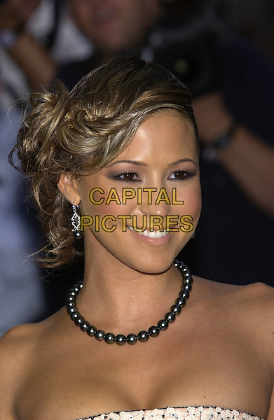 RACHEL STEVENS.GQ Men of the Year Awards, Royal Opera House, London, 7th September 2004..portrait headshot black beads pearls necklace strapless printed dress sequins.Ref: PL.www.capitalpictures.com.sales@capitalpictures.com.©Capital Pictures.