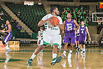 North Texas Mean Green guard Brandan Walton (2) in action during the game between the Stephen F. Austin Lumberjacks and the North Texas Mean Green at the Super Pit arena in Denton, Texas. SFA defeats UNT 87 to 53.