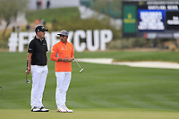 Justin Thomas (USA) and Rickie Fowler (USA) on the 17th during the final round of the Waste Management Phoenix Open, TPC Scottsdale, Scottsdale, Arisona, USA. 03/02/2019.<br /> Picture Fran Caffrey / Golffile.ie<br /> <br /> All photo usage must carry mandatory copyright credit (&copy; Golffile | Fran Caffrey)
