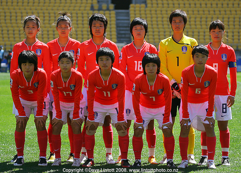 The Korean team pose for a team photo during the FIFA Women's Under-17 World Cup pool match between Korea and Nigeria at Westpac Stadium, Wellington, New Zealand on Thursday, 30 October 2008. Photo: Dave Lintott / lintottphoto.co.nz