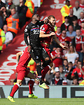 Liverpool's Ragnar Klavan gets caught by an elbow from Crystal Palace's Christian Benteke during the premier league match at the Anfield Stadium, Liverpool. Picture date 19th August 2017. Picture credit should read: David Klein/Sportimage