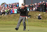 Sunday 31st May 2015; S&oslash;ren Kjeldsen, Denmark, sinks his put on the 18th to secure a play off<br /> <br /> Dubai Duty Free Irish Open Golf Championship 2015, Round 4 County Down Golf Club, Co. Down. Picture credit: John Dickson / DICKSONDIGITAL