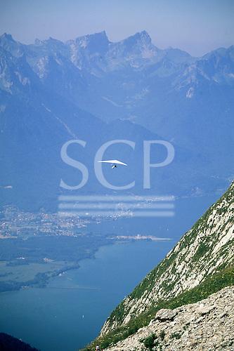 Roche de Naye, Switzerland. Hang glider with mountains behind.