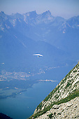 Roche de Naye, Switzerland. Hang glider with mountains behind.