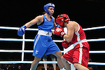 Glasgow 2014 Commonwealth Games<br /> <br /> Lauren Price, Wales (Blue) v Ariane Fortin, Canada (Red)<br /> <br /> 01.08.14<br /> &copy;Steve Pope-SPORTINGWALES