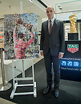 The countdown begins Rinascente in Via del Tritone Rome will be the custodian for the following month of the Trofeo Senza Fine, for overall winner of the Giro d&rsquo;Italia, which will end in Rome on 27th May. In attendance Rome Head of Sport, Youth and Events, Daniele Frongia. Also unveiled is the Giro 2018 Official Poster, created by American artist Derek Gores. Rome, Italy. 27th April 2018.<br /> Picture: LaPresse/Fabrizio Corradetti | Cyclefile<br /> <br /> <br /> All photos usage must carry mandatory copyright credit (&copy; Cyclefile | LaPresse/Fabrizio Corradetti)