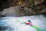 November 5, 2016 - Hendersonville, North Carolina. Kayaker.  Drew Austell, paddles past the safety team at the bottom of the Scream Machine Rapids during the 21st annual Green Race.The Green River Narrows provides one of the most intense and extreme whitewater venues in the world and is home to many of the USA's most talented paddlers.  Green River Narrows, Hendersonville, North Carolina.