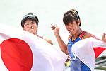 Akiho Takano & Kana Nishihara (JPN), <br /> AUGUST 23, 2018 - Rowing : <br /> Women's pair  Final <br /> at Jakabaring Sport Center Lake <br /> during the 2018 Jakarta Palembang Asian Games <br /> in Palembang, Indonesia. <br /> (Photo by Yohei Osada/AFLO SPORT)