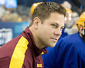 Justin Johnson (Minnesota - Volunteer Assistant Coach) - The University of Minnesota Golden Gophers practiced on Wednesday, April 4, 2012, during the 2012 Frozen Four at the Tampa Bay Times Forum in Tampa, Florida.