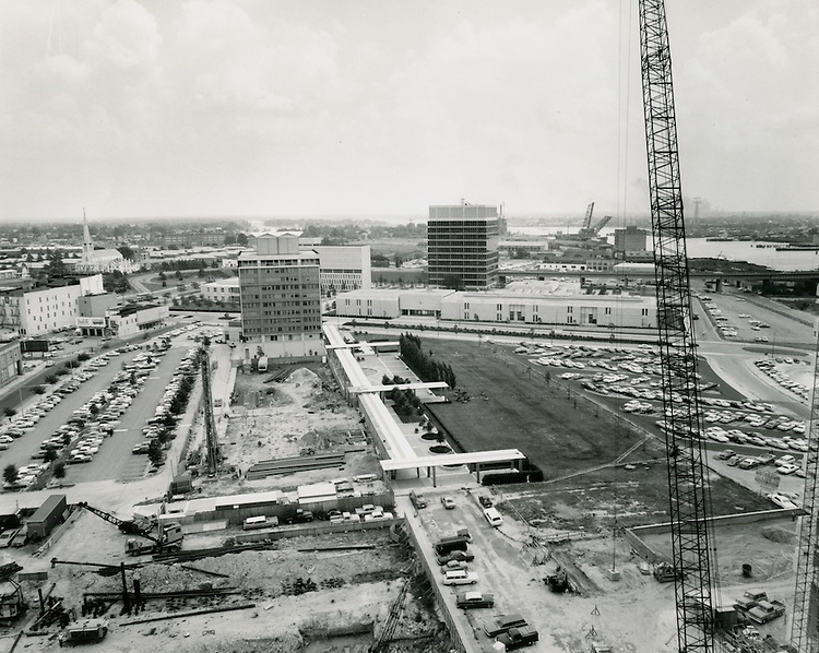 1967 July 27..Redevelopment.Downtown South (R-9)..Commercial Place.Financial District Construction.Looking East toward Municipal Complex & City Hall..HAYCOX PHOTORAMIC INC..NEG#..
