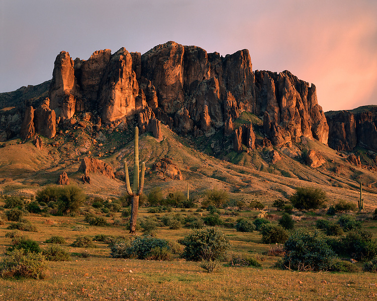 Sunset light on the Superstition Mountains viewed from the Apache Trail; Tonto National Forest, AZ