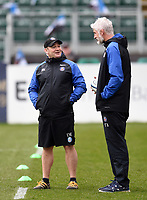 Bath Rugby first team coach Darren Edwards speaks with Director of Rugby Todd Blackadder. Gallagher Premiership match, between Bath Rugby and Harlequins on March 2, 2019 at the Recreation Ground in Bath, England. Photo by: Patrick Khachfe / Onside Images