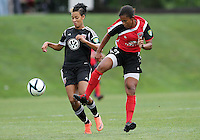 BOYDS, MARYLAND - July 21, 2012:  Lianne Sanderson (10) of DC United Women clashes with Stephanie Goddard (21) of the Virginia Beach Piranhas during a W League Eastern Conference Championship semi final match at Maryland Soccerplex, in Boyds, Maryland on July 21. DC United Women won 3-0.