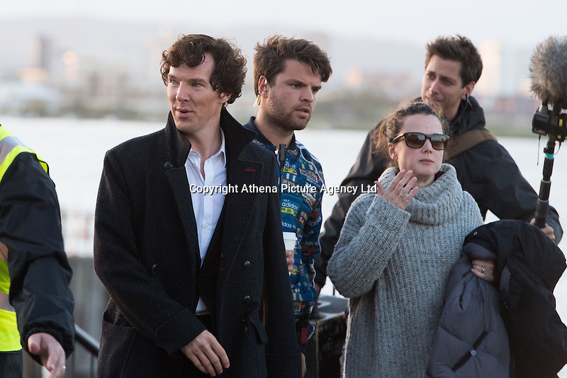 Benedict Cumberbatch seen filming scenes on a fishing boat of hit BBC series Sherlock in Cardiff, Wales, UK