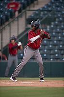 AZL Diamondbacks second baseman Geraldo Perdomo (12) at bat during an Arizona League game against the AZL Angels at Tempe Diablo Stadium on June 27, 2018 in Tempe, Arizona. The AZL Angels defeated the AZL Diamondbacks 5-3. (Zachary Lucy/Four Seam Images)