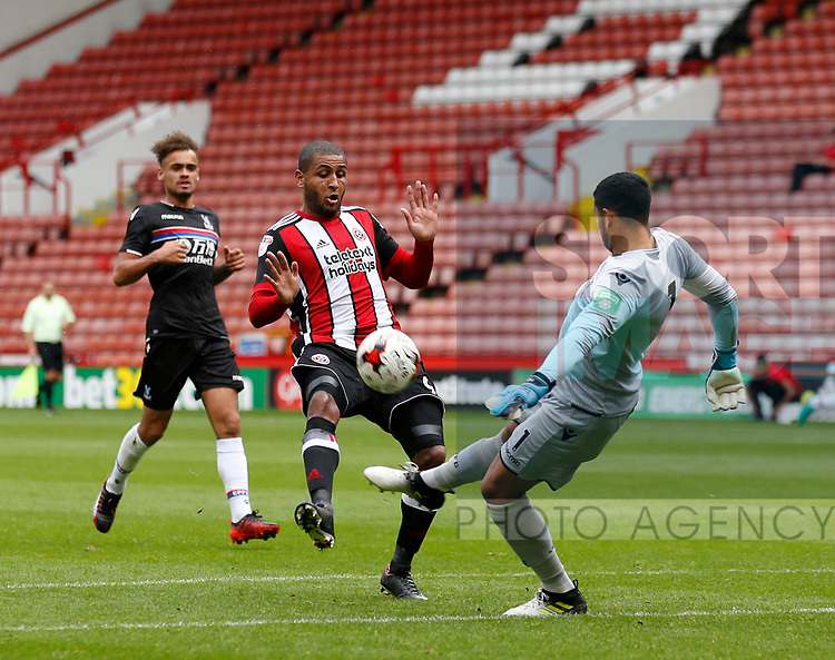 Dion Henry of Crystal Palace clears under pressure from Leon Clarke of Sheffield Utd during the Professional Development U23 match at Bramall Lane, Sheffield. Picture date 4th September 2017. Picture credit should read: John Taff/Sportimage