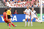 16 June 2007: United States teammates Carli Lloyd (11) and Heather O'Reilly (9) form a defensive wall against the free kick from China's Bi Yan (7). The United States Women's National Team defeated the Women's National Team of China 2-0 at Cleveland Browns Stadium in Cleveland, Ohio in an international friendly game.