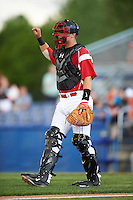 Batavia Muckdogs catcher Jarett Rindfleisch (44) during a game against the Aberdeen Ironbirds on July 15, 2016 at Dwyer Stadium in Batavia, New York.  Aberdeen defeated Batavia 4-2. (Mike Janes/Four Seam Images)