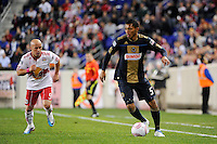 Carlos Valdes (5) of the Philadelphia Union plays the ball. The New York Red Bulls defeated the Philadelphia Union  1-0 during a Major League Soccer (MLS) match at Red Bull Arena in Harrison, NJ, on October 20, 2011.