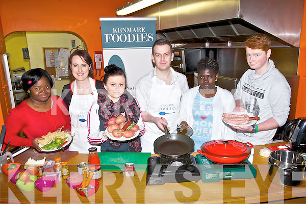 COOKING:On Thursday morning at The KDYS Denny Street, Tralee  Tralee Youth Reach Leaving Cert appliciant who were thought the basic of cooking by Derek Mcmahon and Karen Coakly (Kenmare Foodies) l-r: Rame Ayavi, karen Cokly, Laura Lenihan, Derek McMahon (KF), Afi Adado and Nicky Marshall.