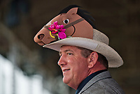 LOUISVILLE, KY - MAY 05: A man wears a horse hat on Kentucky Oaks Day at Churchill Downs on May 5, 2017 in Louisville, Kentucky. (Photo by Douglas DeFelice/Eclipse Sportswire/Getty Images)