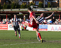 Craig Disley of Grimsby Town tackles Matty Pearson of Accrington Stanley in the Accrington Stanley  penalty area <br /> during the Sky Bet League 2 match between Accrington Stanley and Grimsby Town at the Fraser Eagle Stadium, Accrington, England on 25 March 2017. Photo by Tony  KIPAX / PRiME Media Images.