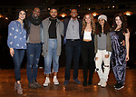 "Lauren Boyd, Justin Dine Bryant, Sean Green, J. Quinton Johnson, Elizabeth Judd, Sasha Hollinger and Lexi Garcia during the  #EduHam matinee performance Q & A for ""Hamilton"" at the Richard Rodgers Theatre on 3/28/2018 in New York City."