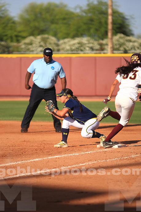 The University of Michigan softball team beats Arizona State, 5-4, in their third meeting of the 2014 NCAA Regional Softball Championship at Farrington Stadium in Tempe, Ariz., on. May 18, 2014.