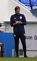 7th July 2020; Madejski Stadium, Reading, Berkshire, England; English Championship Football, Reading versus Huddersfield; Danny Cowley Manager of Huddersfield makes notes