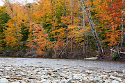 Ammonoosuc River in Carroll, New Hampshire USA during the autumn months.