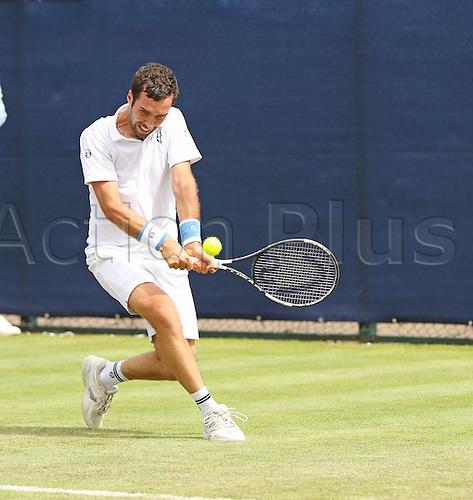 21.06.2016. Nottingham Tennis Centre, Nottingham, England. Aegon Open Mens ATP Tennis. Backhand from Mikhail Kukushkin of Kazakhstan