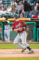 Andrew Susac (10) of the Sacramento River Cats at bat against the Salt Lake Bees in Pacific Coast League action at Smith's Ballpark on April 17, 2015 in Salt Lake City, Utah.  (Stephen Smith/Four Seam Images)
