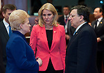 Brussels-Belgium - March 14, 2013 -- European Council, EU-summit meeting of Heads of State / Government; here, Dalia GRYBAUSKAITE (le), President of Lithuania, with Helle THORNING-SCHMIDT (ce), Prime Minister of Denmark, and José (Jose) Manuel BARROSO (ri), President of the European Commission -- Photo: © HorstWagner.eu