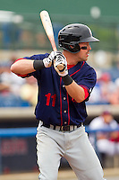 Jason Martinson #11 of the Hagerstown Suns at bat against the Rome Braves at State Mutual Stadium on May 1, 2011 in Rome, Georgia.   Photo by Brian Westerholt / Four Seam Images