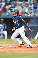 Asheville Tourists second baseman Coco Montes (5) swings at a pitch during a game against the Augusta GreenJackets at McCormick Field on April 4, 2019 in Asheville, North Carolina. The GreenJackets defeated the Tourists 9-5. (Tony Farlow/Four Seam Images)