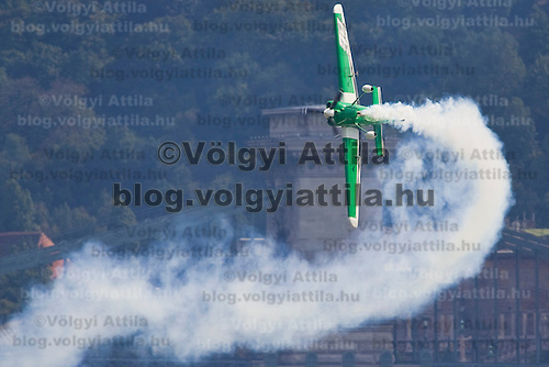 Training rounds for the participants of the Red Bull Air Race held over river Danube in Budapest, Hungary. Monday, 17. August 2009. ATTILA VOLGYI