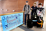 OXFORD CT. 11 March 2018-031219SV01-Thomas Romeo, 17, left, and Jack Fairhurst, 17, right leave for Abu Dhabi with their principal Dorothy Potter at Oxford High School in Oxford Tuesday. The two are members of the schools Unified Sports team to take part in a global youth summit at the Special Olympics. <br /> Steven Valenti Republican-American
