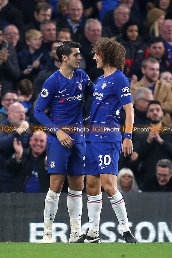 David Luiz congratulates Alvaro Morata after scoring his second goal of the match during Chelsea vs Crystal Palace, Premier League Football at Stamford Bridge on 4th November 2018