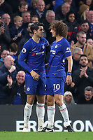 David Luiz congratulates Alvaro Morata after scoring his second goal of the match during Chelsea vs Crystal Palace, Premier League Football at Stamford Bridge on 4th November 2018
